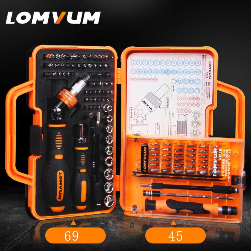 Lomvum Hand Tool Set Rumah Tangga Ponsel Perbaikan Alat Kit Toolbox Case Socket Precision Mini Magnetik Obeng Set