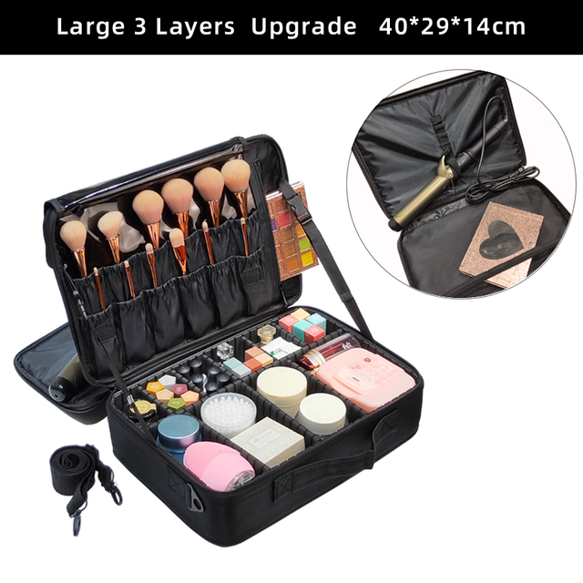 New Upgrade Large Capacity Cosmetic Bag Hot-selling Professinal Women Travel Makeup Case 3