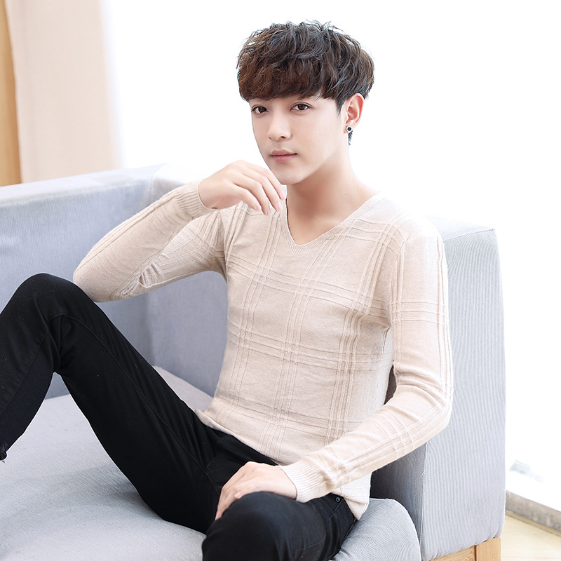 2019 Autumn New Men Knitted Pullover Cashmere Sweater Casual Business V-Collar Thin Slim Fit Sweaters Brand Clothes