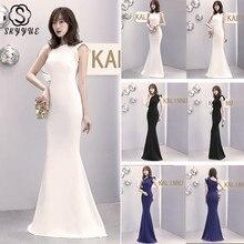 Skyyue Soild One Shoulder Evening Dress Women Party Dresses Elegant Zipper Robe De Soiree Sleeveless Formal Gowns 2019 C085-DS2 цена
