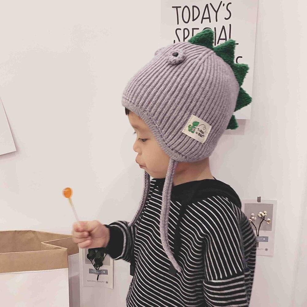 Chapéu quente do bebê do inverno da menina do bebê #10 chapéu quente da malha das crianças do estilo do dinossauro