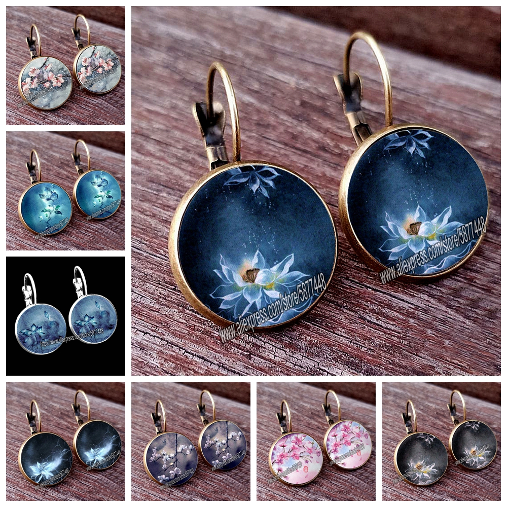 Retro Handmade Lotus Fower Women Pattern Glass Cabochon Stud Earring Blossom Flower Earring for Woman and Girl
