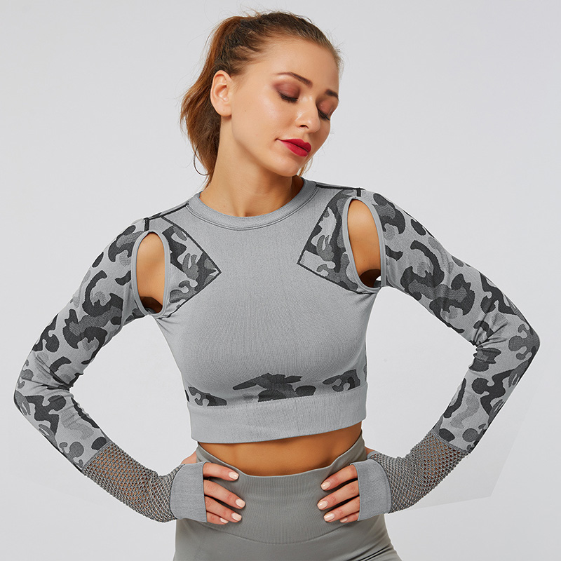 Zhangyunuo Camo Yoga Long Sleeve Gym Running <font><b>Fitness</b></font> <font><b>Crop</b></font> <font><b>Top</b></font> <font><b>Sexy</b></font> Hollow Compression Thumb Hole Sports T-shirt Workout Tank <font><b>Top</b></font> image