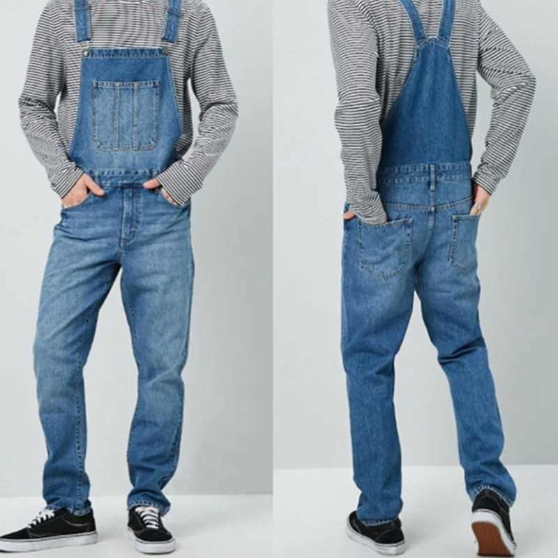 Jeans Men's Overalls High Street Straight Denim Jumpsuits Hip Hop Men Cargo Bib Pants  Male Jean Dungarees S-3XL