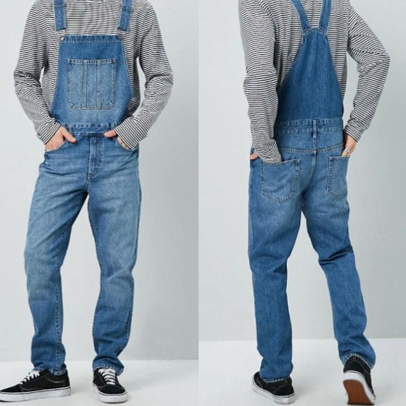 Jeans Men's Overalls High Street Straight Denim Jumpsuits Hip Hop Men Cargo Bib Pants  Male Jean Dungarees S-3XL