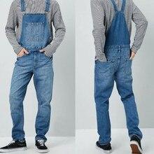 Джинсы высокие мужские комбинезоны улицы прямые джинсовые комбинезоны хип-хоп мужчины брюки-карго нагрудник брюки мужчины Жан брюки s-размер 3XL