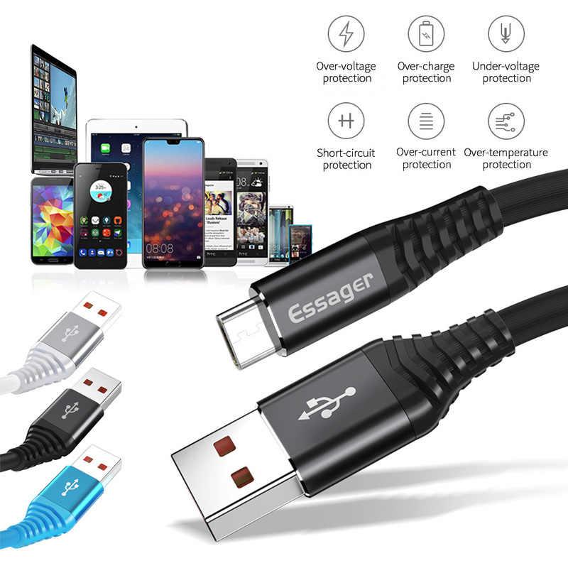 Essager 0,3 M 1M 2M USB tipo C Cable para Samsung Xiaomi Huawei cargador de sincronización de datos del Cable de alambre cable USB tipo C carga rápida USBC
