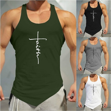 Gym Tank Top Men Letter Printing Faith Shirt Fitness Clothing Mens Summer Sports Casual Slim Graphic Tees Shirts Vest Tops
