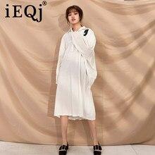 IEQJ – robe ample à col rabattu pour femme, chemise ample, taille libre, nouvelle collection printemps été 2021, F95500