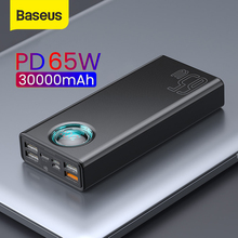 Baseus 65W Tablet Power Bank 30000mAh USB C PD Quick Charge Powerbank Portable External Battery Charger For iPhone Xiaomi Laptop