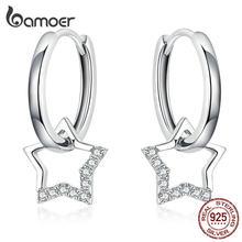 Bamoer dichiarazione gioielli da sposa orecchini CZ trasparenti con ciondolo a stella da donna gioielli in autentico argento Sterling 925 BSE276