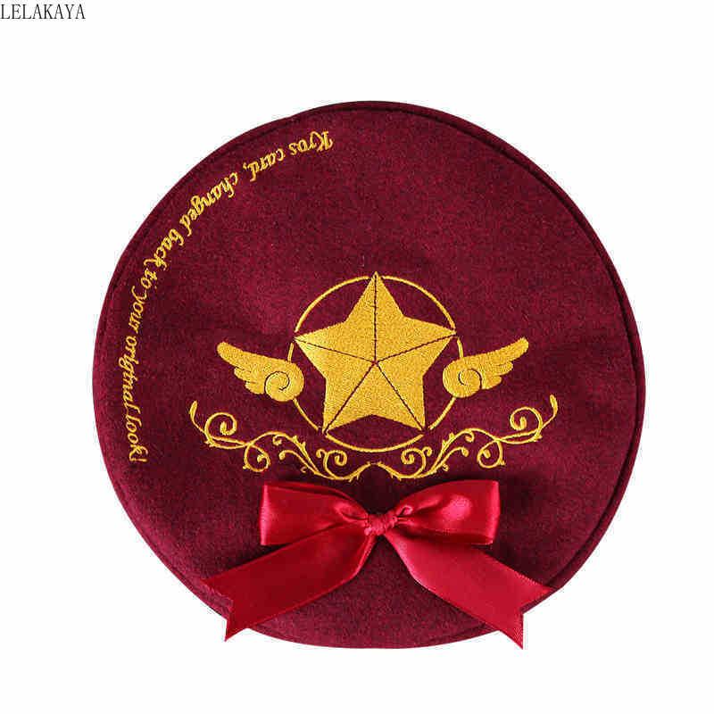 Anime moon Card Captor Sakura Cosplay Cartoon Hat Cap Embroidery Cotton Women Girl Beret with Bowknot doll dropshipping