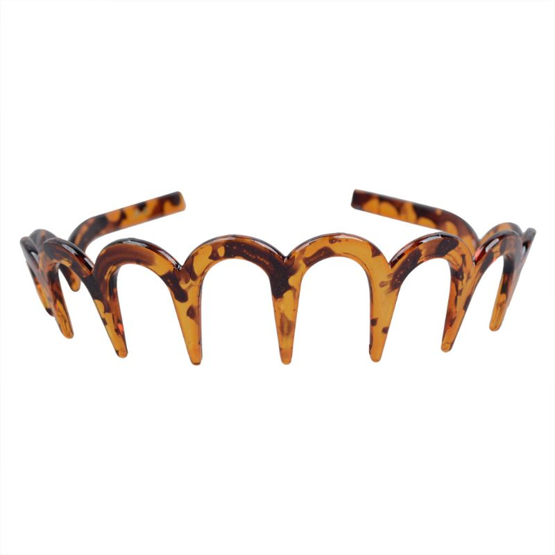 Stable Brown Acrylic Sharks Tooth Hair Comb Headband For Women Hair Jewelry New