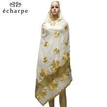 Новейший африканский мусульманский вышитый женский хлопковый шарф, красивый и экономичный хлопковый большой женский шарф для шалей EC199
