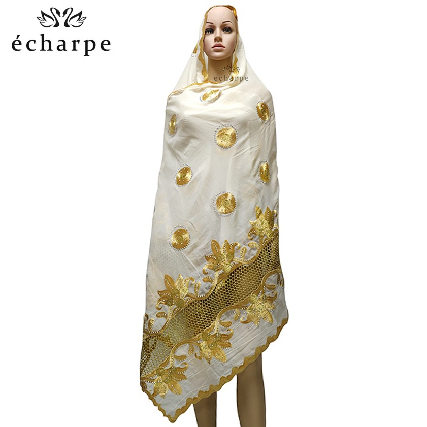 Latest African Muslim Embroidered Women Cotton Scarf, Beautiful And Economical Cotton Big Lady Scarf For Shawls EC199