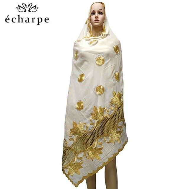 Mais recente africano muçulmano bordado lenço de algodão feminino, algodão bonito e econômico grande senhora cachecol para xales ec199