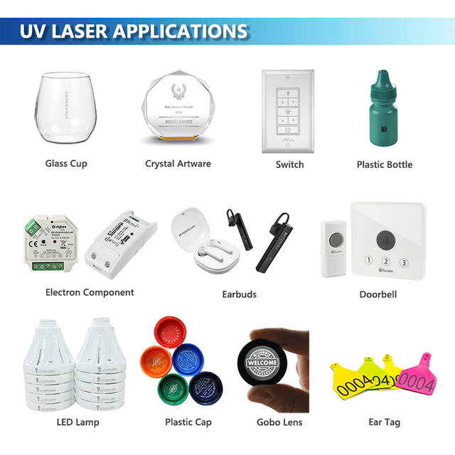 3W UV N95 Face Mask Laser Marking Machine 355nm Laser Marker Glass Cup Crystal Engraving Plastic Earbuds Lamp Gobo Lens 5