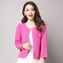 Woman Casual Short Coat Pure Colour Red Pink Black Gray Computer Knit Jackets Women Round Collar Zipper Front Outerwear Autumn