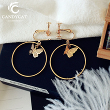 Simple Big Round Clip Earrings For Women Trendy Butterfly Geometric No Pierced Ear Cuff Earring Fashion Jewelry Gifts Wholesale pair of trendy geometric rhinestone alloy ear cuff for women