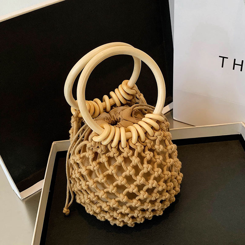 Mini Straw Hand Bag for Women 2021 with Bamboo Strap