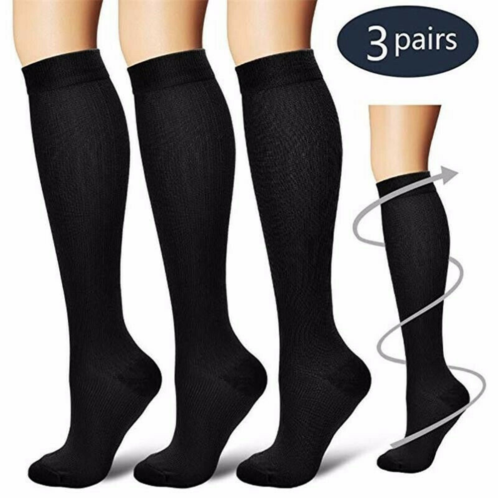 Compression Underwear Pressure Varicose Vein Knee High Support Stretching Pressure Circulation Compression Knee High ( 3 Pairs )