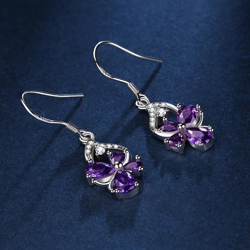 Viwisfy Vintage Jewelry Wedding Crystal Pink Butterfly Flower 925 Sterling Silver Drop Earrings For Women VW21206