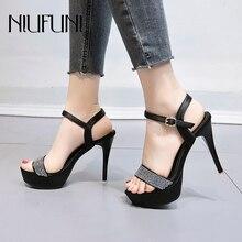 цена на Rhinestone Platform Peep Toe Women Sandals NIUFUNI Summer Stiletto Buckle Model High Heels Wedding Shoes For Women Footwear