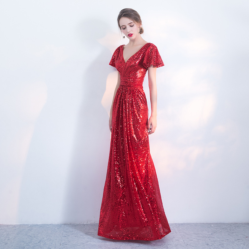 Long V Neck Red Evening Dresses Short Sleeve Sequins A Line V Back Elegant Party Dresses Formal Occasion Prom Gowns Shining Robe