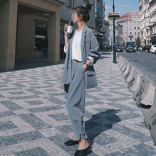 Casual long sleeve womens suit New spring and autumn elegant loose large size female Radish pants set Pants two-piece