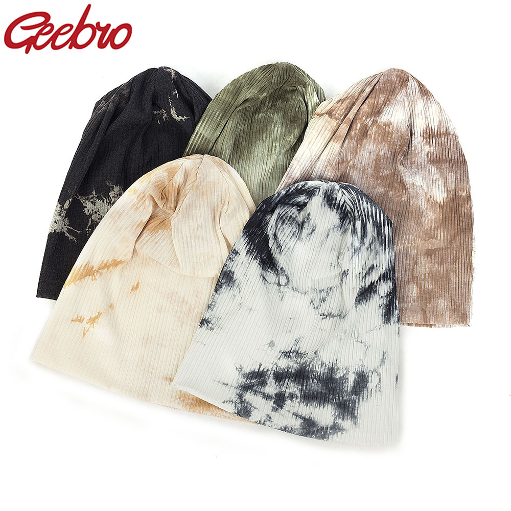 Geebro Casual Cotton Ribbed Tie Dye Beanies Hats And Caps For Women Men Autumn Winter Slouch Hats Ladies Plain Skullies Gorras