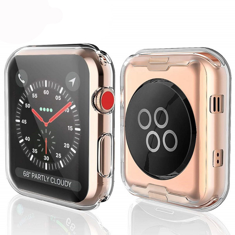 Silicone cover For <font><b>apple</b></font> <font><b>watch</b></font> band 4 44mm 40mm (iwatch 5) All-around Ultra-thin Clear frame iwatch <font><b>3</b></font> 2 1 applewatch Accessories image