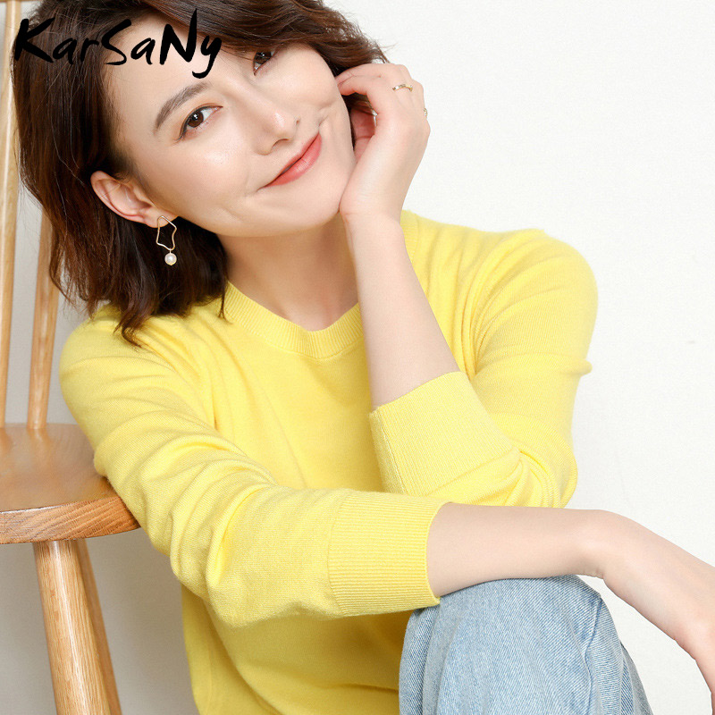 Yellow Cashmere Sweater For Women Sweaters Female Pink Wool Winter Woman Sweater Knitting Pullovers Knitted Sweaters Jumper 2019