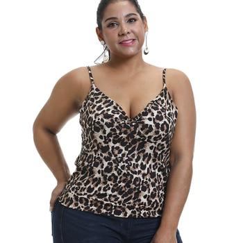 Sale 6XL Leopard Print Tank Top Women Summer Spaghetti Strap Cami Top Sexy V Plus Size Vest Slim Fit Top Vests haut femme D30 цена 2017