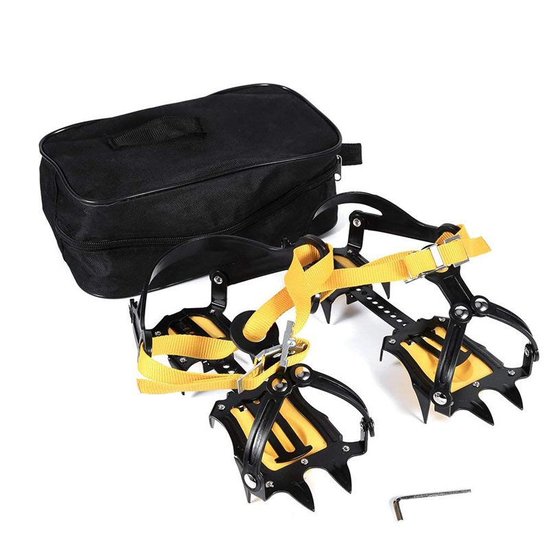 10 Teeth Crampons Mountaineering Cleats , Stainless Steel Snow Grips Crampons With Storage Bag Hexagonal Wrench Traction Spikes