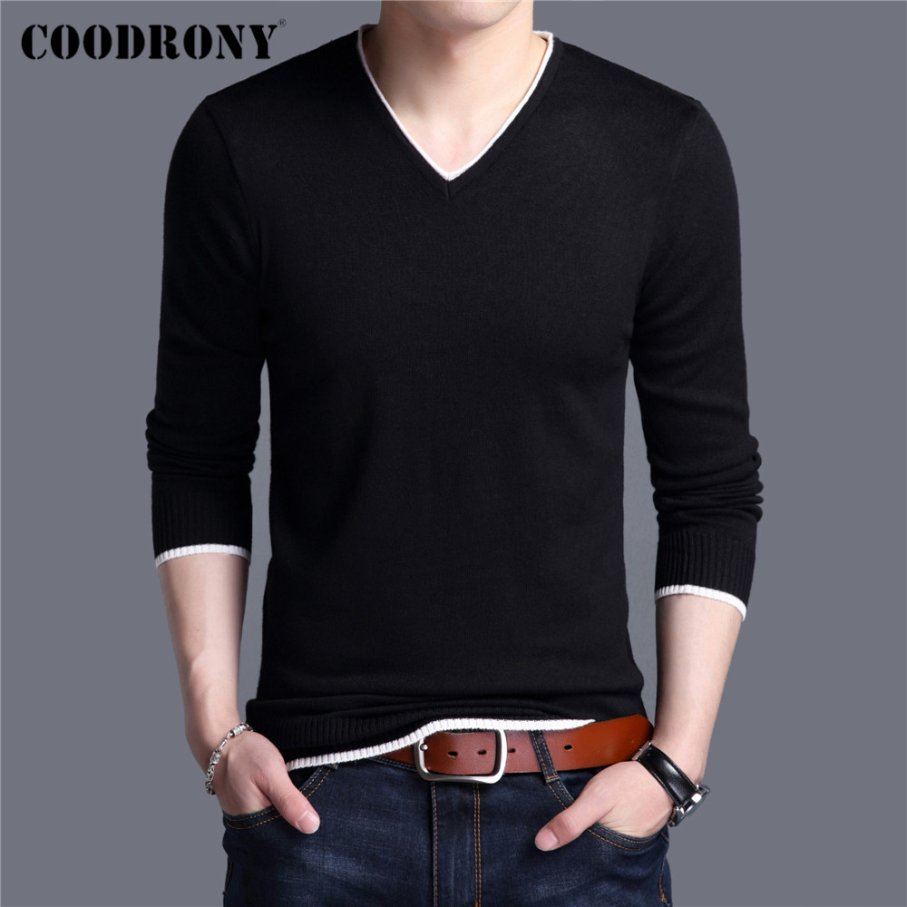COODRONY Brand Spring Autumn New Arrival Soft Cotton Sweater Casual V-Neck Pull Homme Knitwear Pullover Men Clothes Jersey C1001 1