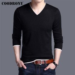 COODRONY Brand Spring Autumn New Arrival Soft Cotton Sweater Casual V-Neck Pull Homme Knitwear Pullover Men Clothes Jersey C1001