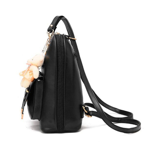 Image 2 - Preppy Style Women Backpack Bear Toys PU Leather Schoolbags for Teenage Girls Female Rucksack Shoulder Bag Travel Knapsack