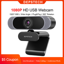 DEPSTECH 1080P Webcam HD Computer PC WebCamera with Microphone Rotatable Camera for Live Broadcast Video Calling Conference Work