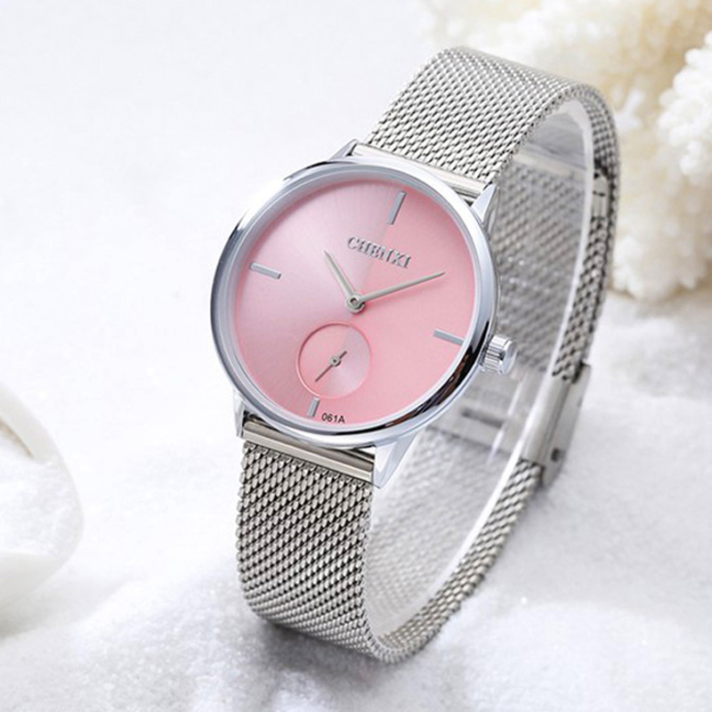 CHENXI Brand Unique Women Casual Watches Pink Silver Stainless Steel Stop Watch Elegant Casual Dress Quartz Lady Wristwatches
