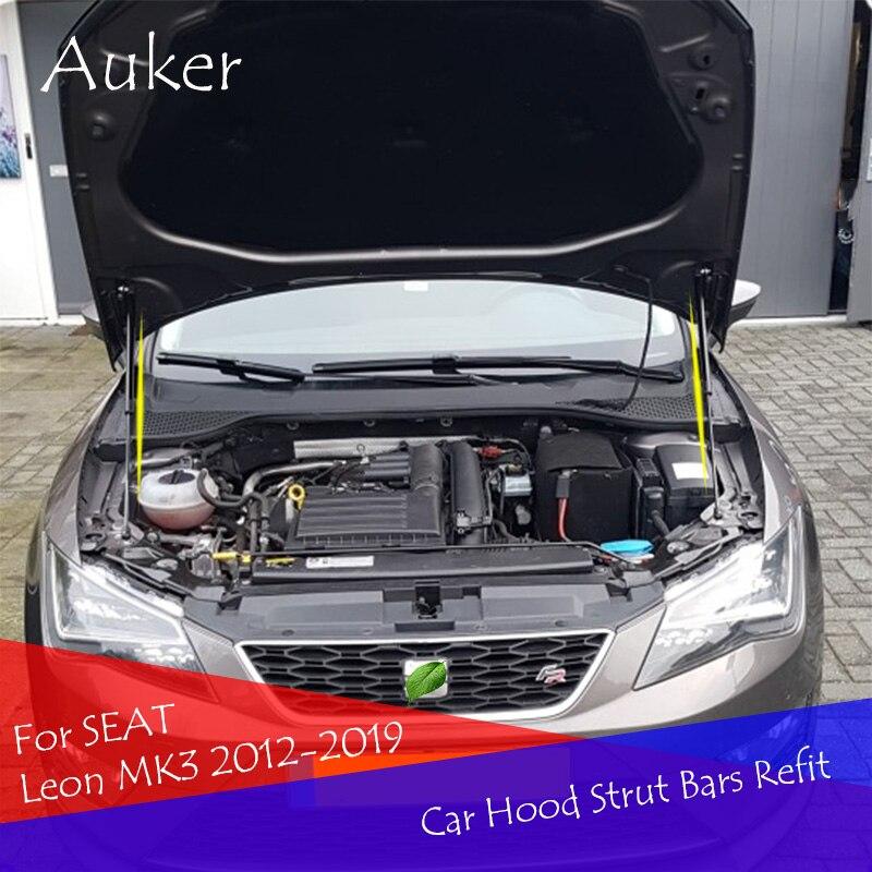 For SEAT Leon MK3 2012-2019 Front Bonnet Hood Modify Carbon Fiber Gas Struts Lift Support Shock Damper Accessories Absorber