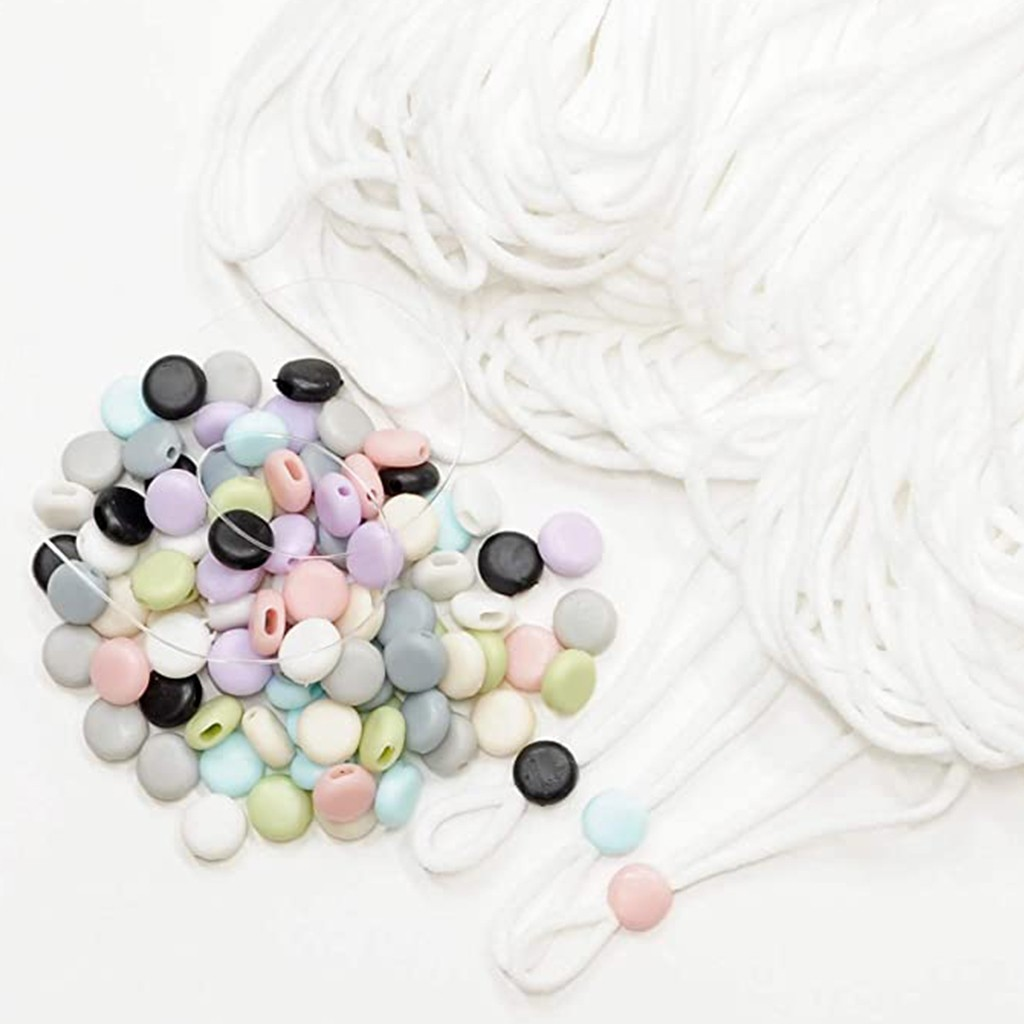 90PCS Face Mask Elastic Adjustment Button Mask Accessories Soft Rubber Anti Slip Clasp Ear With Rope Buckle For DIY Mask 728
