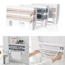 Organizador da cozinha aderente filme molho garrafa rack de armazenamento suporte toalha de papel multifuncional prateleira do banheiro rolo papel rack