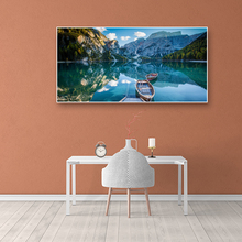 Blue Sky Lake Boat Mountain River Forest Landscape Pictures Wall Art Posters HD Print Canvas Painting For Living Room Home Decor