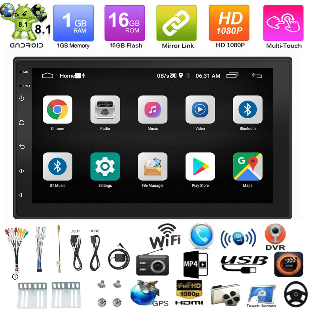 7 2 Din HD Touch Screen Car MP5 Player Bluetooth Stereo FM Radio USB/TF AUX In MP5 Player Rear View Camera Android 8.1 image