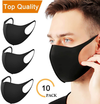 10PCS ice silk Black Cloth Mask For Face Adult Waterproof Breathable Cotton mask Masque Washable Reusable - discount item  50% OFF Workplace Safety Supplies