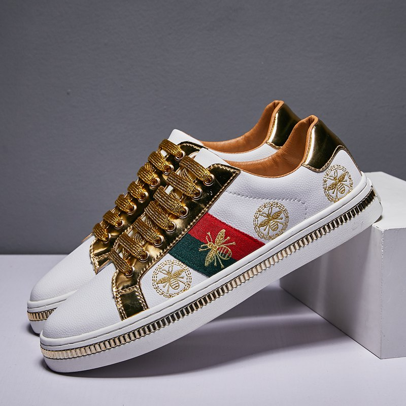 Fashion Design Superstar White Golden Bee Embroidery Shoes Men Board Trainers Classic Glitter Embroider Shoes Men Sneaker Casual(China)