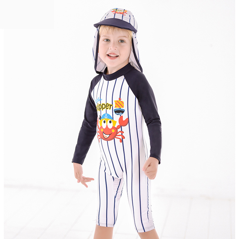 2019 Europe And America New Style KID'S Swimwear One-piece Stripes Sun-resistant Cartoon Ultra-stretch Quick-Dry Small Stand Col