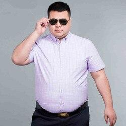 Plus Size 8XL7X 100% Katoen Heren Dress Korte Mouwen Fashion Casual Slim Fit Plaid Mannen Shirts Merk Kleding Chemise homme