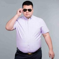 plus size 8XL7X 100% Cotton Mens Dress Short Sleeve Shirts Fashion Casual Slim Fit Plaid Men Shirts Brand Clothing Chemise Homme