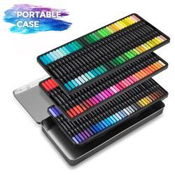 قلم تلوين 100 قطعة ماركة هيعرش برأسين فاينلاينر قلم رسم فني أقلام ألوان مائية أقلام بفرشاة أقلام أدوات رسم فنية